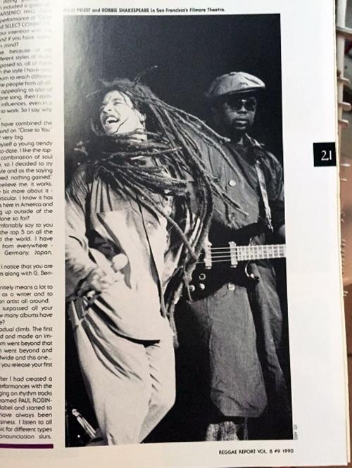 Maxi & Robbie Shakespeare, on tour, San Francisco. V8#9 1990