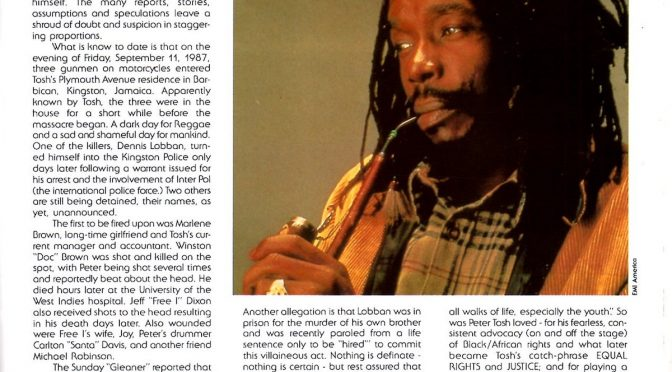 peter tosh tribute story