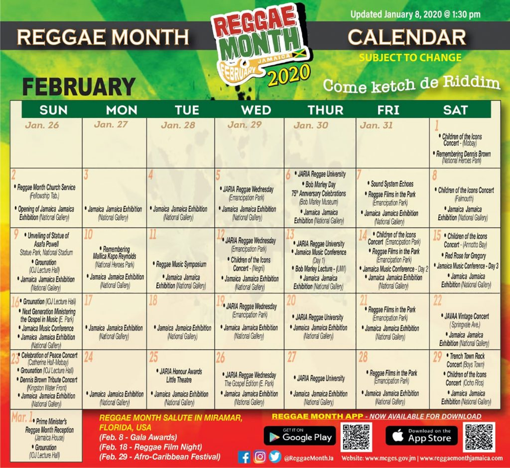 reggae month calendar 2020