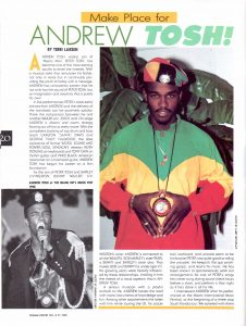 Andrew Tosh Article V8#7 1990