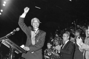 Nelson Mandela greets kingston fans, July 24, 1991