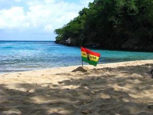 reggae flag on beach