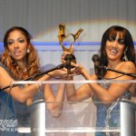 Brick and Lace accept their RA award for Best Dancehall Vocal Duo or Group