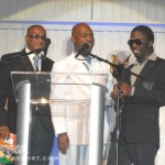 Steelie and Clevie present Stephen Mcgregor with RA award for Best Dancehall Compilation (Exec. Producer's Award)