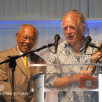 Traiblazer recipient Chris Blackwell presents Reggae Legend Award to Ernie Ranglin