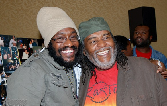 "Tarrus Riley and Dean Fraser, producer of the mega hit ""She's Royal"""