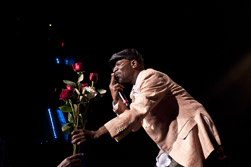Beres accepts roses from a fan